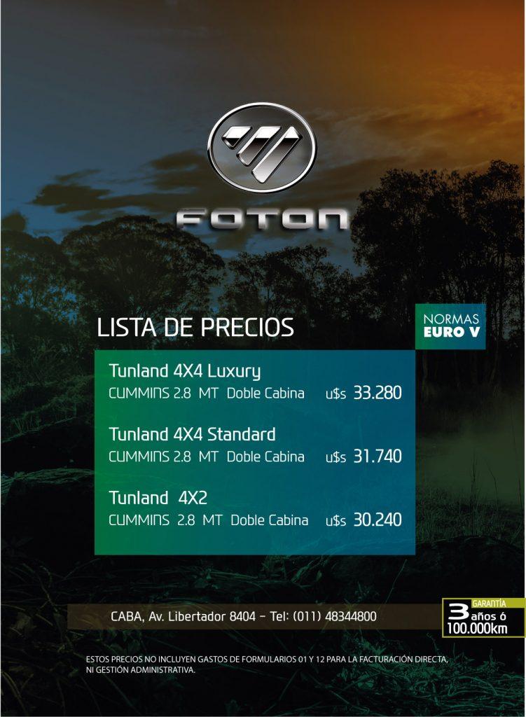 Lista precios Foton